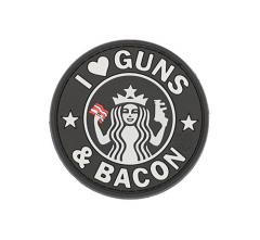 "JTG ""I love Guns and Bacon""-velkromerkki, 3D,  musta"