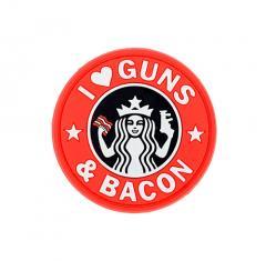 "JTG ""I love Guns and Bacon""-velkromerkki, 3D,  punainen"