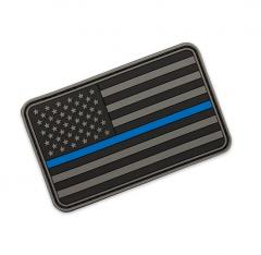 "US hihalippu ""Thin Blue Line"", 3D harmaa, velkro, 77 x 47 mm"