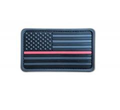 "US hihalippu ""Thin Red Line"", 3D harmaa, velkro, 77 x 47 mm"