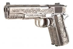 WE Engraved M19Double Barrel handgun, Gas pistol, Silver