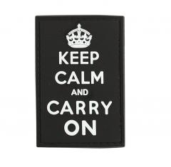 Keep Calm and Carry on-velkromerkki, 3D, musta, harmaalla tekstillä
